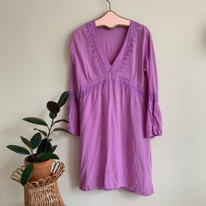 Calypso Purple Embroidered Tunic Dress